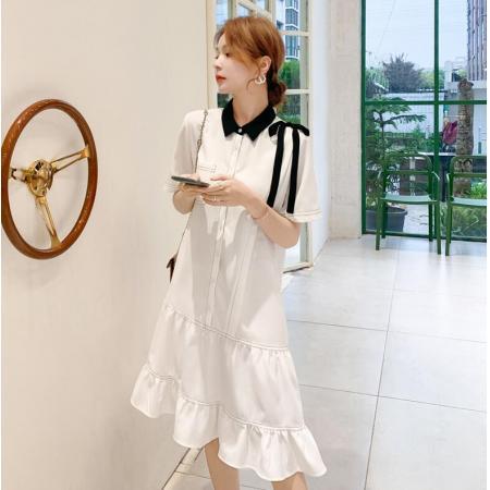 YF49700#  法式连衣裙女夏装新款韩版宽松收腰显瘦气质女神范衬衫裙子 服装批发女装直播货源