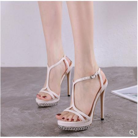 X-25519# 夏季新款一字带凉鞋女仙女风网红超高跟防水台女鞋细跟13CM