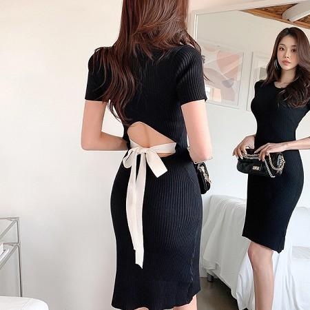 YF50166# 韩版夏装新款圆领短袖针织连衣裙女系带包臀中裙