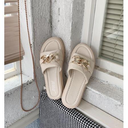 X-25520# 时尚百搭厚底柳钉一字拖夏季拖鞋女增高