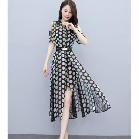 YF50558# 连衣裙女夏今年流行新款高端设计感小众法式波点雪纺甜美裙子 服装批发女装直播货源