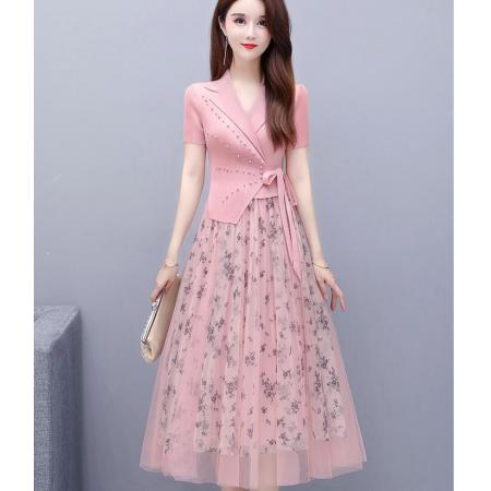 YF50559# 裙子女夏天新款法式长款碎花气质收腰假两件褶皱粉色连衣裙 服装批发女装直播货源
