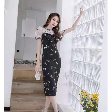 YF50805# 设计夏季新款高雅淑女复古连衣裙 服装批发女装直播货源