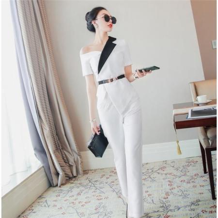 YF50817# 时尚套装2021年新款女春季小心机名媛白色上衣显瘦裤子时髦两件套