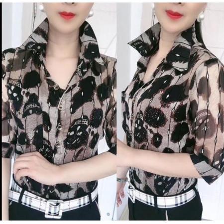 YF50826# 洋气拼接雪纺衬衫