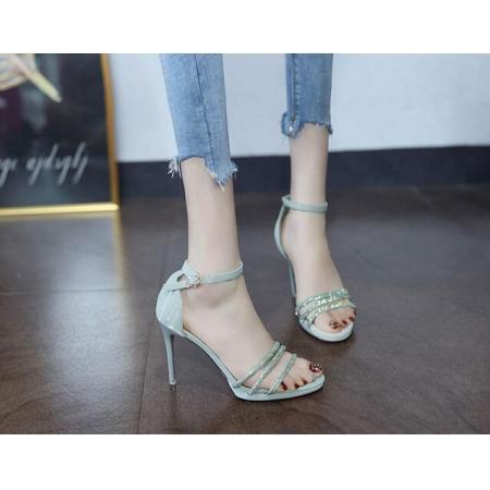 X-25598# 罗马凉鞋高跟鞋女夏季新款水钻细带露趾一字扣细跟防水台女鞋