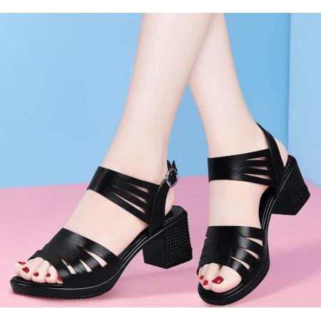 X-25599# 粗跟鱼嘴凉鞋女中跟夏季高跟鞋露趾妈妈鞋女