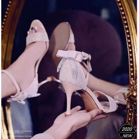 X-25602# 气质一字带高跟凉鞋细跟夏季蝴蝶结仙女配裙子高跟鞋