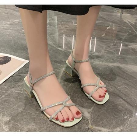 X-25603# 新款珍珠凉鞋女夏天粗跟外穿一字拖鞋高跟鞋子ins潮百搭