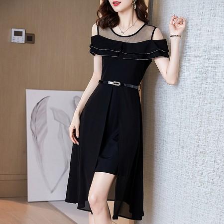 YF51555# 赫本风小黑裙夏天新款露肩气质修身裙子黑色连衣裙女夏 服装批发女装直播货源