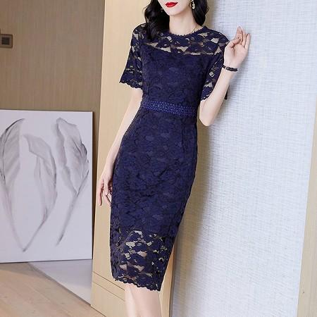 YF51560# 新款夏收腰显瘦女神气质裙子蕾丝显瘦连衣裙女 服装批发女装直播货源