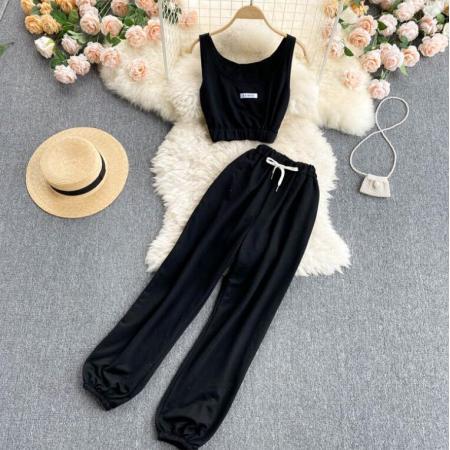 YF51860# 运动套装女夏装减龄背心短款上衣女百搭高腰束脚阔腿裤休闲两件套