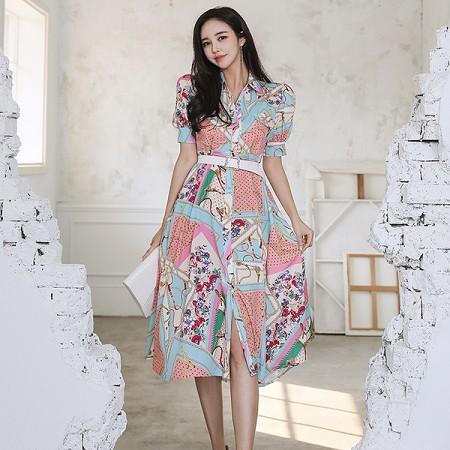 YF52355# 夏装新款韩版气质收腰中长款印花衬衫裙时尚大摆连衣裙 服装批发女装直播货源