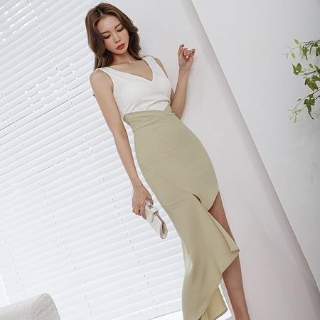 YF52356# 夏装新款韩版V领性感修身气质时尚拼色包臀不规则连衣裙 服装批发女装直播货源