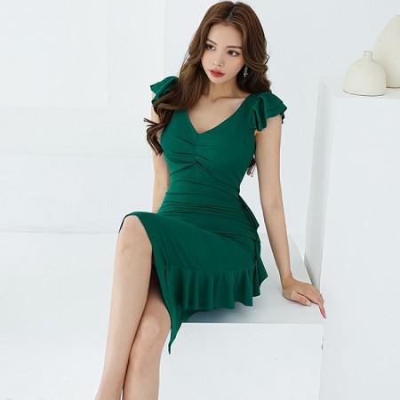 YF52357# 夏装新款韩版气质V领荷叶边修身显瘦性感时尚包臀连衣裙 服装批发女装直播货源