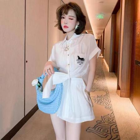 YF52368# 上新-设计感翻领短袖丝滑衬衫+休闲A字短裤套装女装2021春夏新款