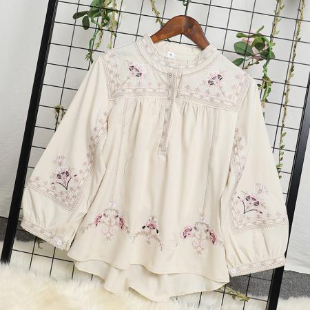 YF52368# 重工刺绣花朵衬衫女复古长袖2021年春装新款时尚洋气高端雪纺上衣