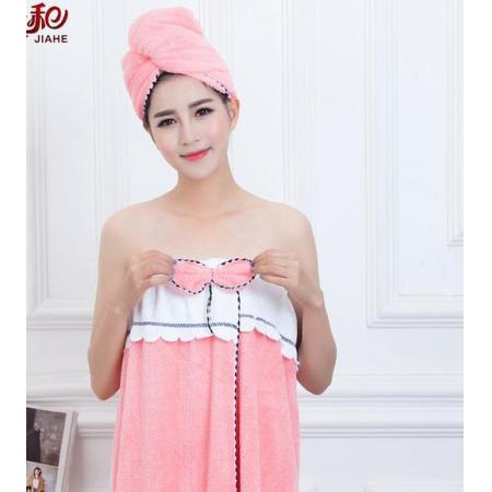 YF52371# 美容院超细纤维抹胸浴裙女士冬夏季沙滩换衣浴袍珊瑚绒浴巾可穿
