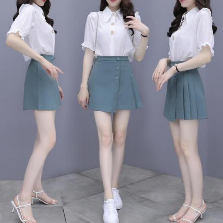 YF52373# 大码女装夏季新款韩版灯笼袖雪纺不规则半身裙两件套