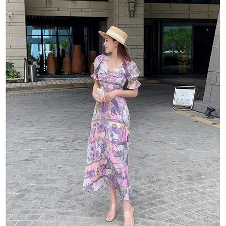 YF53023# 女装夏季新品短袖韩国丝甜美时尚印花潮流沙滩连衣长裙 服装批发女装直播货源