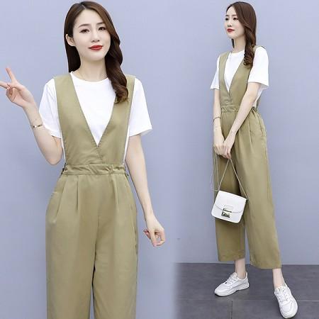 YF53429# 夏天套装女新款季减龄背带阔腿裤休闲时尚小个子两件套显高 服装批发女装直播货源