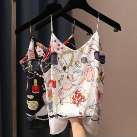 YF53436# 香水瓶首饰图案个性v领百搭内搭印花吊带背心 夏装新款女装上衣