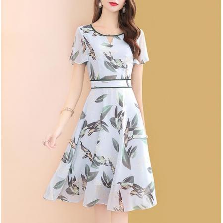 YF53696# 印花雪纺连衣裙女夏天中长款2021新款收腰显瘦女士裙子
