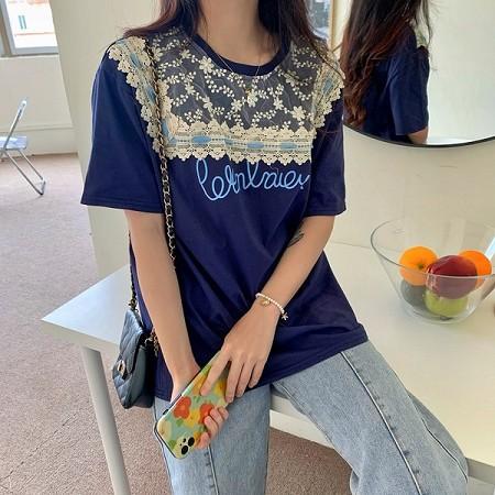 YF53990# 大码夏季蕾丝拼接印花T恤女短袖设计感小众薄款半袖上衣 服装批发女装直播货源