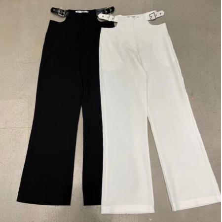 YF54274# 白色高腰阔腿裤新款镂空腰带修身显瘦轻熟气质洋气纯色长裤女夏季