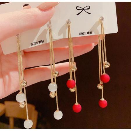 YF54975# 韩国东大门新款耳环S925银针两戴磨砂红色珍珠猫眼石流苏长款耳环