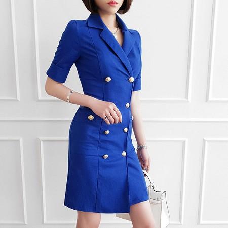 YF55253# 夏装新款韩版OL气质双排扣修身西装领职业包臀连衣裙女 服装批发女装直播货源