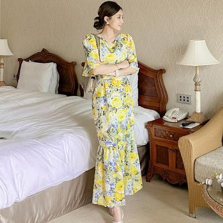 YF55255# 夏装新款韩版长裙时尚复古收腰显瘦印花气质高端连衣裙 服装批发女装直播货源
