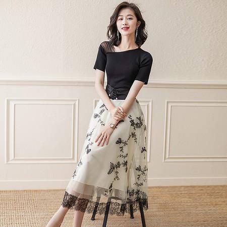 YF55496# 连衣裙女夏季新款收腰显瘦气质碎花两件套装长裙子 服装批发女装直播货源