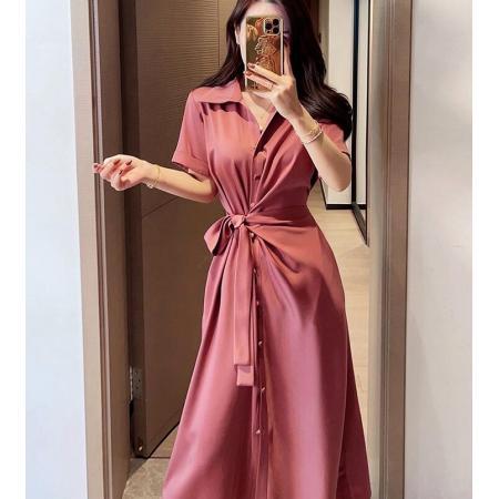 YF56150# 董小姐夏装新款衬衫款裙短袖系带气质醋酸连衣裙女