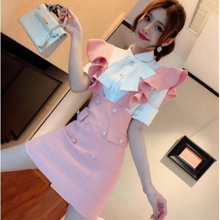 YF56401# 套装女蝴蝶结衬衫荷叶边高腰减龄百搭潮流拼接 背带裙