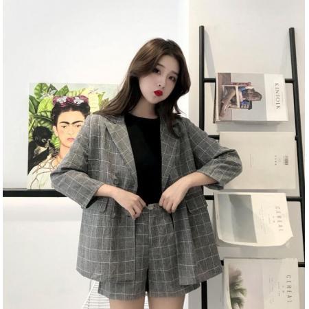 YF57081# 韩版时尚格子小西装御姐短裤套装女夏洋气气质网红两件套