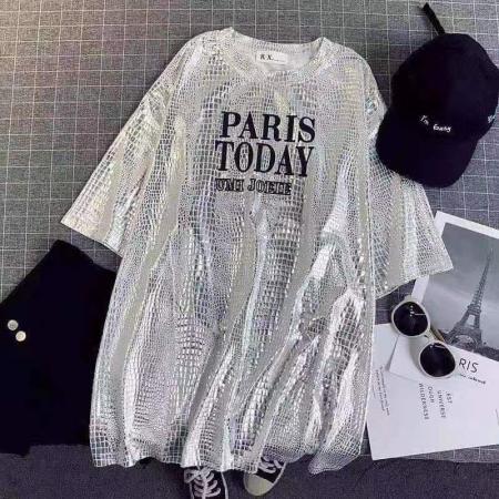 YF57522#  中长款女上衣ins宽松2021印花新学生体恤韩版短袖风潮t恤黑白色夏