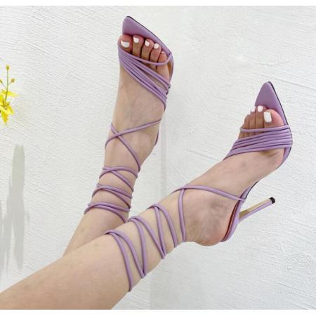 X-25796# 欧美欧洲站外贸尖头罗马绑带细跟凉鞋超高跟女鞋