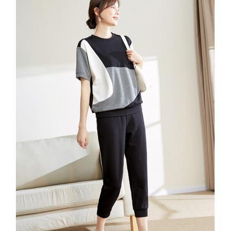 YF58175# 洋气短袖T恤女装夏装休闲薄款上衣减龄运动服套装 服装批发女装直播货源