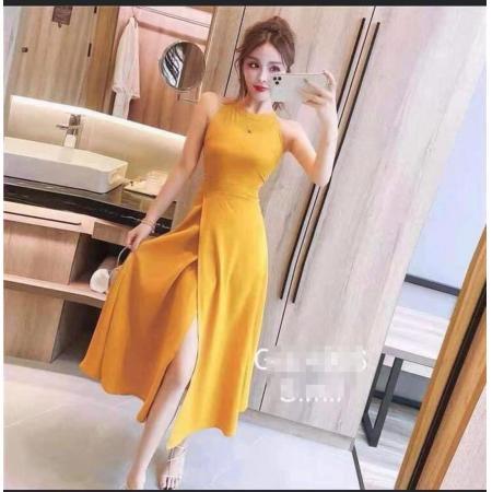 YF58655#  法式复古小众夏季新款女装韩版度假挂脖无袖连衣裙开叉高腰长裙子