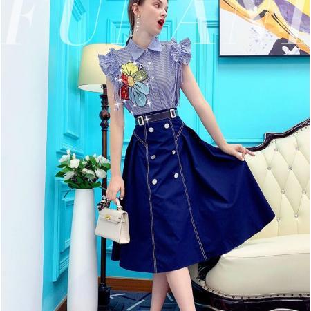 YF58816# 复古chic港风套装女新款条纹印花衬衫半裙减龄两件套 服装批发女装直播货源