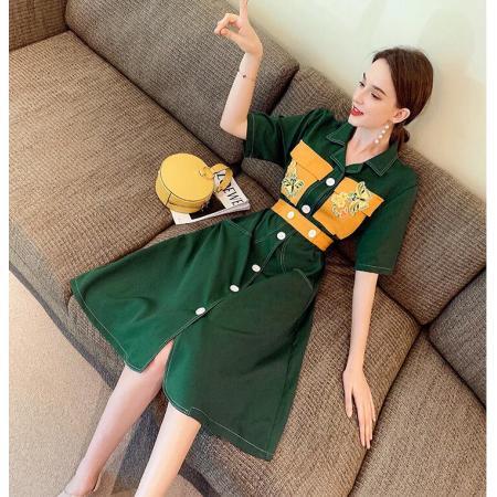 YF58817# 夏季新款法式复古气质修身显瘦过膝长裙时尚减龄连衣裙 服装批发女装直播货源
