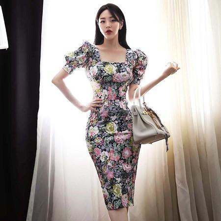 YF59114# 韩版气质方领修身中长款夏装收腰显瘦印花包臀连衣裙女 服装批发女装直播货源