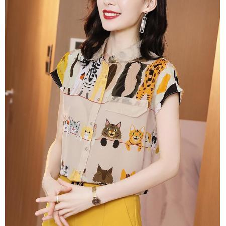 YF59723# 真丝衬衫女夏短袖新款设计感减龄卡通印花宽松休闲桑蚕丝上衣