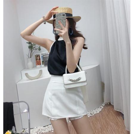 YF60582# 韩式名媛时尚套装女夏绑带圆领前后两穿背心上衣防走光半身裙短裤