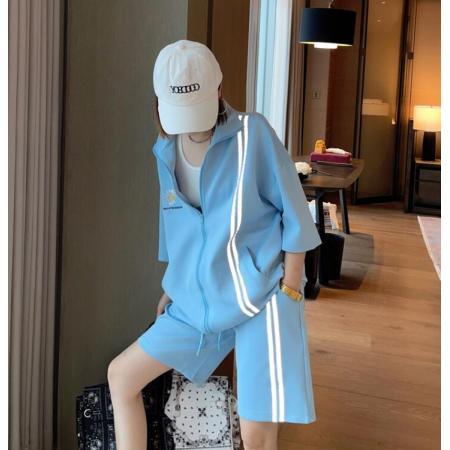 YF60774# 休闲套装女夏季新款韩版潮牌宽松短袖短裤两件套学生运动服