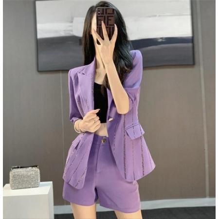 YF61159# 紫色西服套装女薄款新款职业时尚气质网红炸街短裤两件套夏