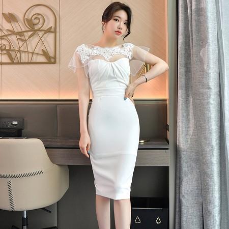 YF61500# 夏装新款韩版修身气质拼接蕾丝网纱收腰性感包臀连衣裙 服装批发女装直播货源