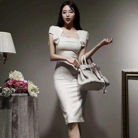 YF61503# 夏季新款韩版高级感白色收腰显瘦气质包臀职业连衣裙女 服装批发女装直播货源