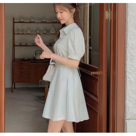 YF62691# 纯色简约气质收腰显瘦连衣裙 服装批发女装直播货源